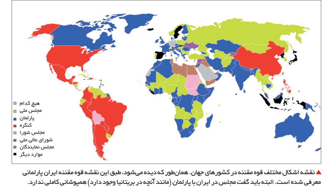 تجارت- فردا-  نقشه اشکال مختلف قوه مقننه در کشورهای جهان. همانطور که دیده میشود، طبق این نقشه قوه مقننه ایران پارلمانی معرفی شده است. البته باید گفت مجلس در ایران با پارلمان (مانند آنچه در بریتانیا وجود دارد) همپوشانی کاملی ندارد.