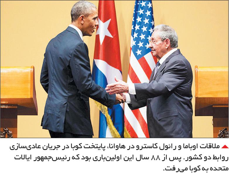 تجارت- فردا-  ملاقات اوباما و رائول کاسترو در هاوانا، پایتخت کوبا در جریان عادیسازی روابط دو کشور. پس از 88 سال این اولینباری بود که رئیسجمهور ایالات متحده به کوبا میرفت.